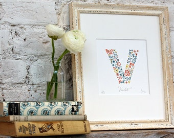V Print Personalised Children's Print, name picture, new baby gift, nusery wall art, nursery print, Limited Edition Alphabet Letter