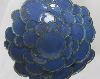 Circles bowl blue hand made ceramic