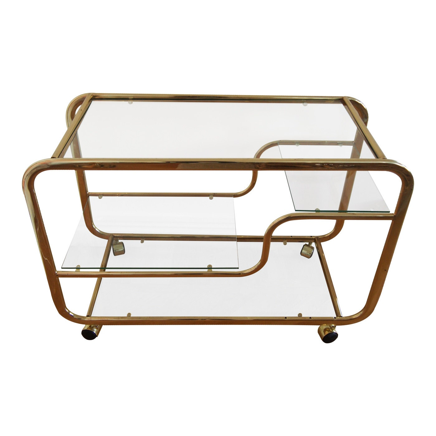 Reserved Brass Glass Gold Bar Cart Made In By