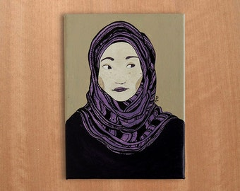 Girl with hijab: illustration on canvas
