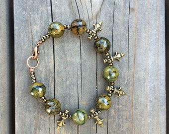 Olive Green Beaded Bracelet with Brass Accents