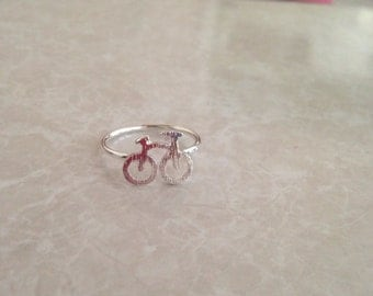 HOLIDAY SALE!~ Miniature Bicycle Ring - Silver Plated