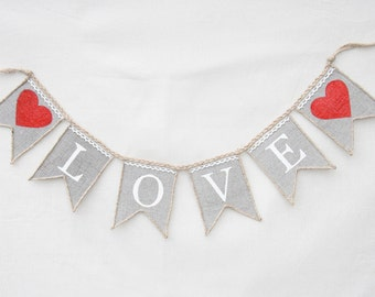 LOVE Burlap Banner with Hearts- Wedding Banner, Love Banner