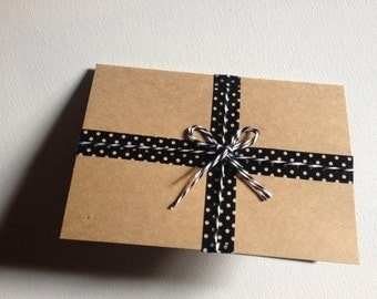 Kraft Blank Greeting Card/washi design/gift wrapped/4x5.5 inches