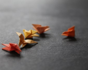 orange amber mini micro origami butterflies in five shades, handmade