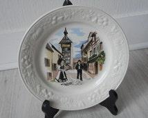 vintage French decorative sarreguemines porcelain collectible plate