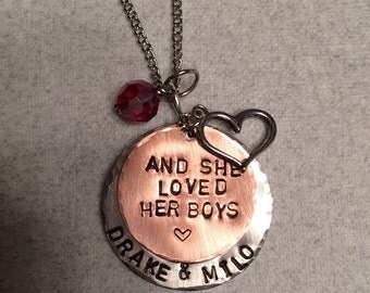 Personalized Hand Stamped Jewelry Mothers Necklace