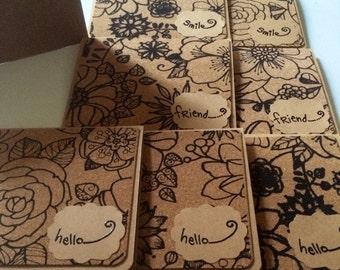 Notecard Set - Cork & Kraft Notecard Set - 7 Card Set w/ Matching Envelopes