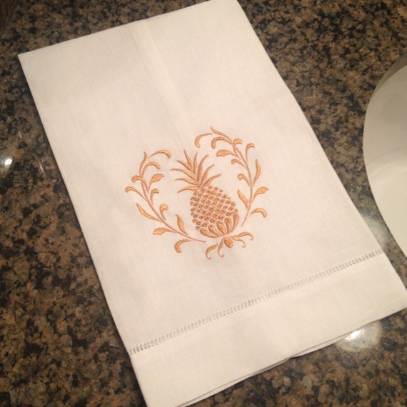 Guest Towels Linen: Linen Hemstitch Guest Towel With Pineapple Wreath By MoodyBleu