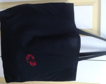 Tote Shopping Bag - Stunning Black Broadcloth With Strawberry Embroidery
