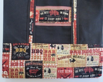 Heavy Duty Reusable Grocery Tote, Grocery Bag,  BBQ Themed Grocery Tote Bag