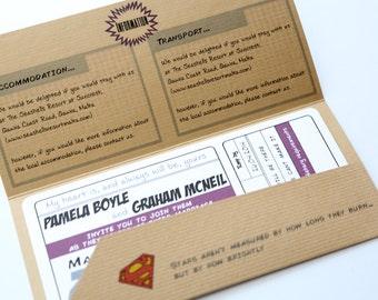 Retro Wedding Invitation Comic Book Ticket - Superman - Batman - Marvel