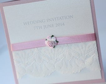 Vintage Lace & Pink Rose Wedding Invitation