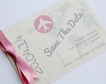 Travel Postcard Save the Date Pink