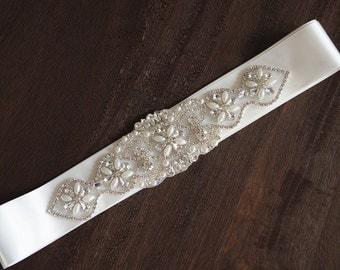 pearl crystal bead applique, rhinestone applique, pearl embelishment  for bridal sash, bridal sash applique