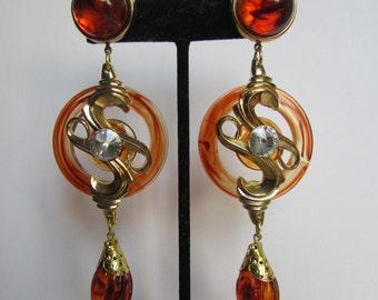 Vintage earrings- Orange drop earrings- 90s Jewelry