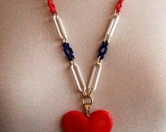 Red, White and Blue Retro Heart Pendant