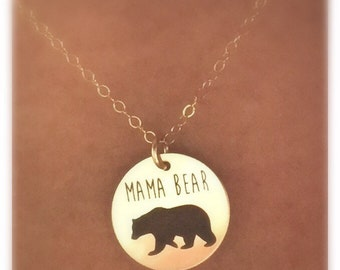 Mama Bear Necklace in Sterling Silver,Yellow Gold or Rose Gold Gift For Mom, Mama and Baby necklace set
