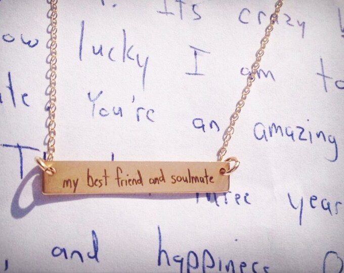 "Your Handwriting, Handwritten Bar Necklace (1.2"" x .2"") Rose Gold Yellow Gold Sterling Silver Personalized, Bridesmaid"
