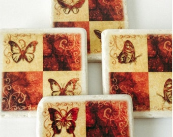 Butterfly Coasters - Garden - Great Housewarming Gift - Home Decor - Sturdy - Unique - Set of 4