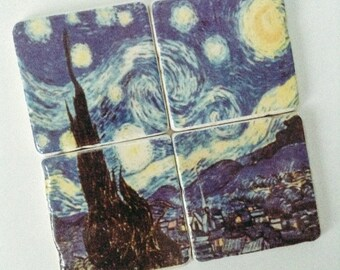 Van Gogh Starry Night Coasters - Natural Stone Tile - Fine Art - Home Decor - Housewarming - Hostess Gift - Set of 4