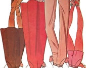 1970s woman pant shorts & skirt pattern, McCall's 5197, size 12, bell bottoms, length variations, inset pockets, front zipper, UNCUT