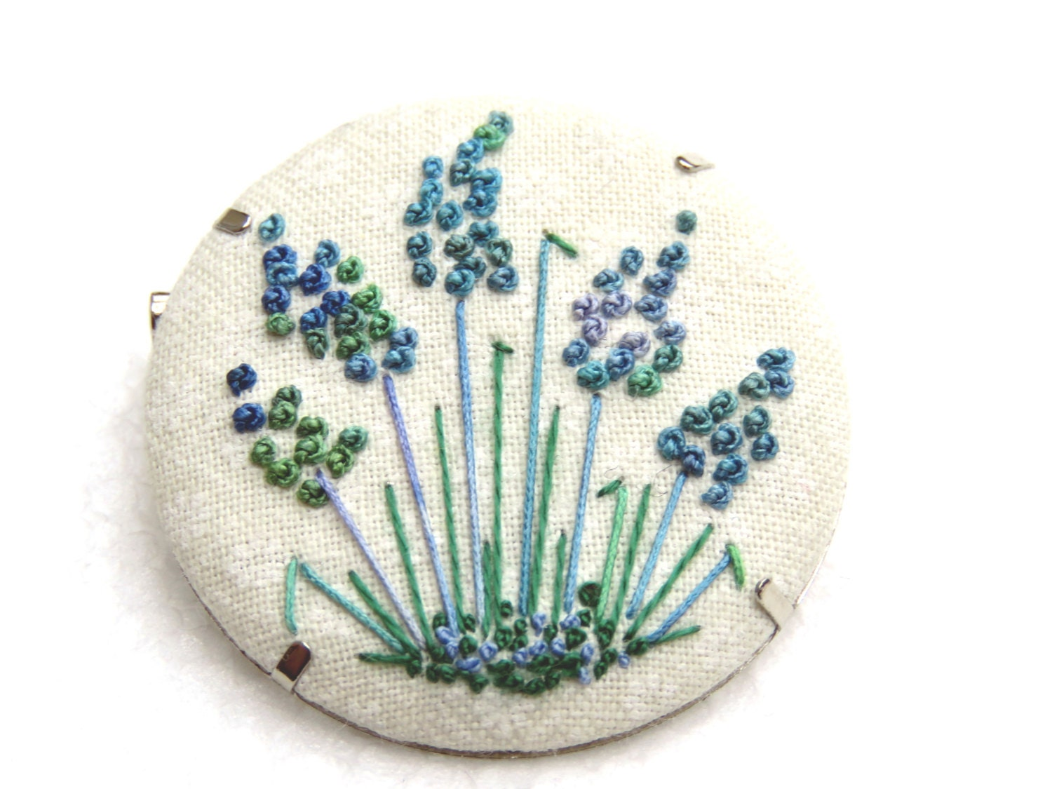Lavender flower embroidery brooch button on cream printed