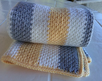 Crochet striped baby blanket
