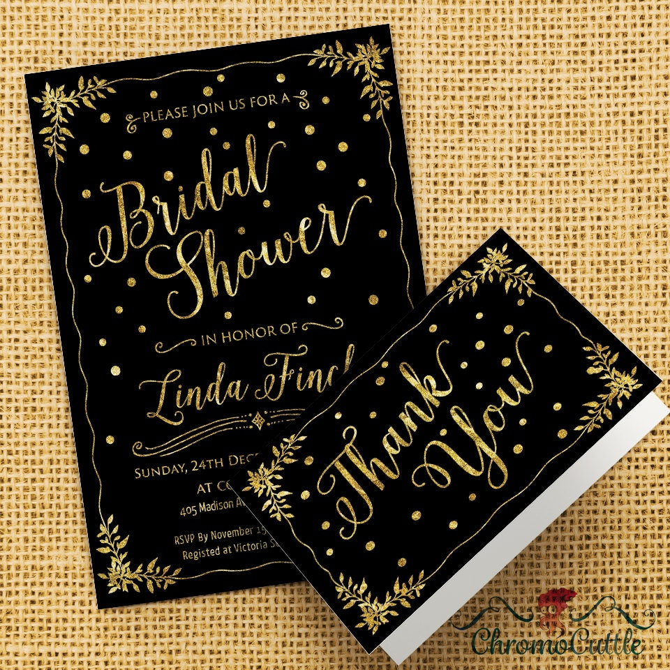 Black and gold bridal shower invitation gold by chromopaperie for Black and gold wedding shower invitations