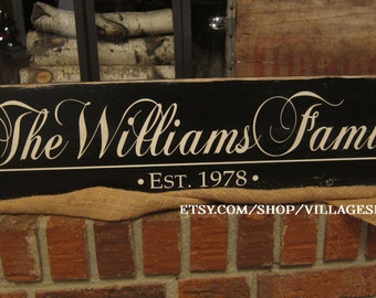 Rustic Family Last Name Est Date Wood Sign