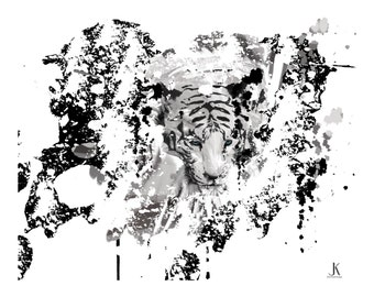 White Tiger Drip  Painting Digital