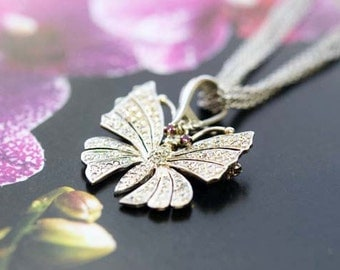 Estate Vintage 14k White Gold Diamond Ruby Butterfly Pendant Brooch Pin with Sterling Silver Necklace