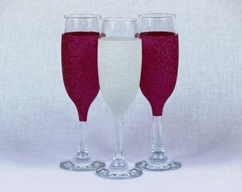 Glitter Bride & Bridesmaid Champagne Glasses - Set of 3