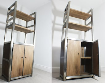 Victoria Industrial Oak & Steel Bookcase unit with Storage