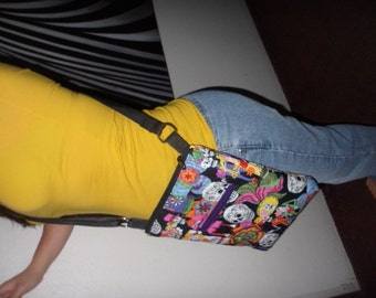 candy skull crossbody  bag.. quilted messenger bag