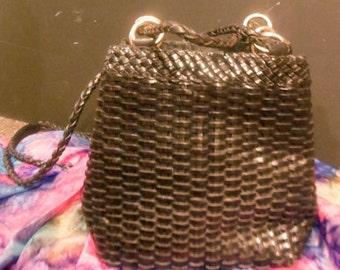 Ann Taylor Leather Basket Weave Purse
