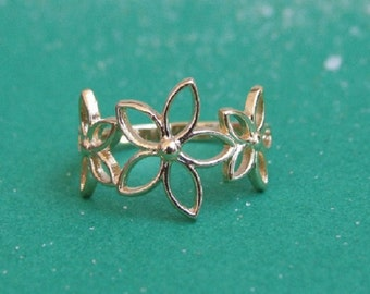 Flowers Ring, 14K Yellow Gold Plated Ring