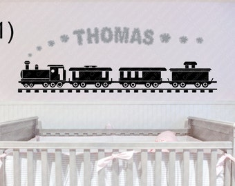 Personalized Train and Name Vinyl Wall  #1-#4 Personalized Decal,Kids Wall Decal,Train Decal, custom wall Decal, Vinyl Wall Decal