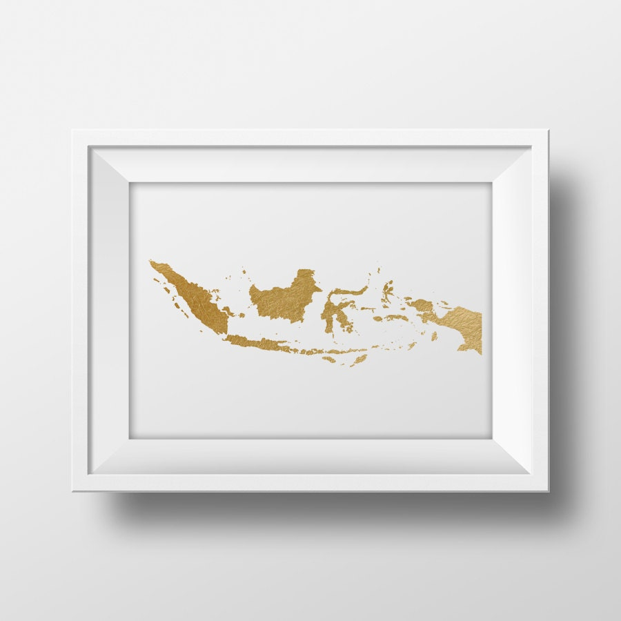 Gold foil Indonesia map printable map wall art Indonesia map print country map poster printable & Gold foil Indonesia map printable map wall art Indonesia map print ...