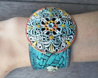 Tibetan Silver Turquoise Round Floral Painted Pendant Elephants Distressed Up-Cycled Leather Cuff Bracelet