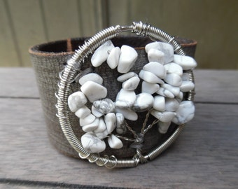 Tree of Life Silver White Gray Stones Beaded Sparkly Distressed Upcycled Brown Leather Cuff Bracelet