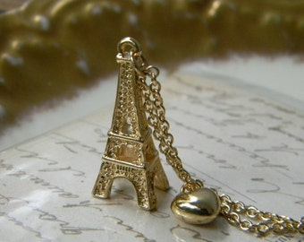 Eiffel Tower Necklace with heart - Simple everyday delicate jewelry