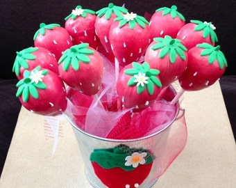 Strawberry cake pops!  Strawberry Shortcake Party!  Strawberries!