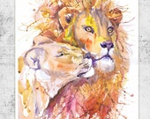 Lion print, lioness, watercolor painting, lion king, african animals, lion painting,  lion wall art, zodiac leo, lion art, gift for couple