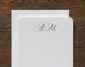 Calligraphy Monogram Stationery - set of 12 cards + envelopes