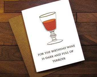 Funny Birthday Card - Game of Thrones Birthday Card  with Recipe - Game of Thrones Card for a Wine Lover - Sommelier Card