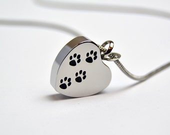 Pet Cremation Jewellery, Paws On Heart Stainless Steel
