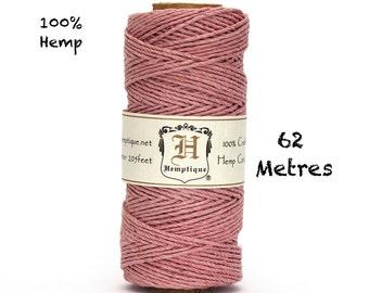 Hemptique Hemp Macrame Cord Dusty Pink Eco Twine 62.5m