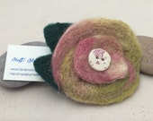 Felted flower brooch /corsage in rose pink/cream/sage green with butterfly button