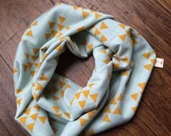 Mint with mustard triangle print infinity scarf boy/girl sz 0-6T